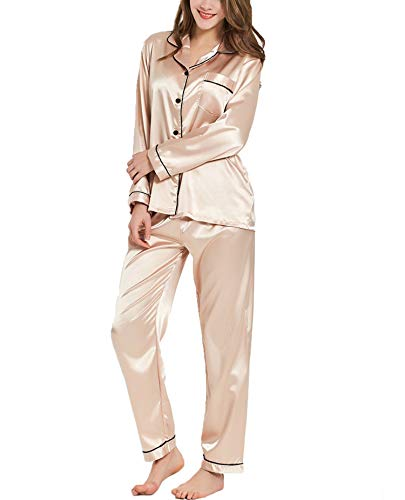 SWOMOG Womens Silk Satin Pajamas Long Sleeve Loungewear Two-Piece Sleepwear Button-Down Pj Set Champagne