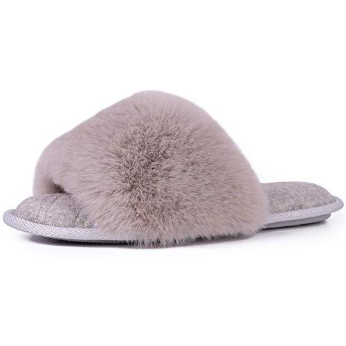 LongBay Women's Fuzzy Faux Fur Memroy Foam Flat Spa Slide Slippers Open Toe House Shoes Sandals (Small / 5-6, Gray)