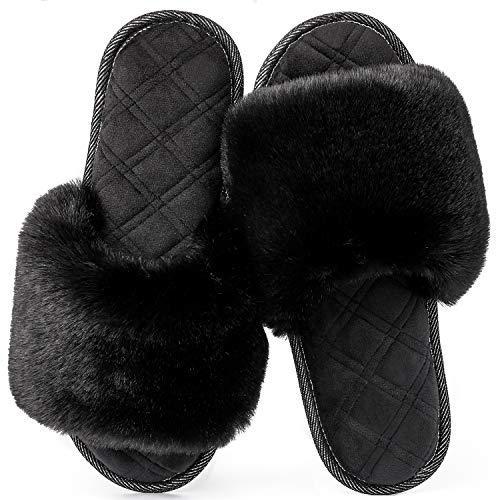 LongBay Women's Fuzzy Faux Fur Memroy Foam Flat Spa Slide Slippers Open Toe House Shoes Sandals (Small / 5-6, Black)
