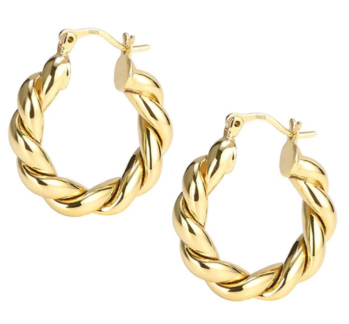 ASH'S CHOICE Pendientes de aro trenzados para mujer Aros de cuerda gruesos chapados en oro de 14 K