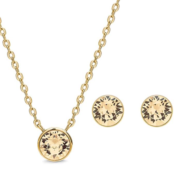 AURA - Conjunto de joyas con colgante chapado en oro de 18 quilates y aretes de cristal