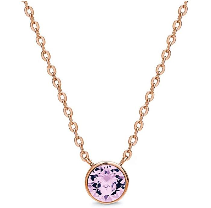 Collar con colgante para mujer chapado en oro rosa de 18 quilates AURA