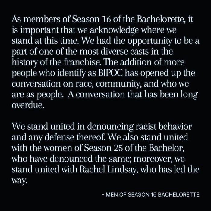El elenco de la temporada 16 de Bachelorette publica una declaración conjunta en medio del escándalo de racismo