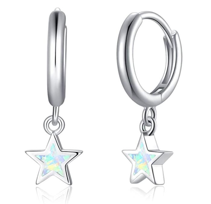 Boucles d'oreilles anneaux étoile opale hypoallergénique COMORE