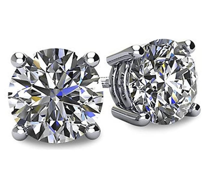 Boucles d'oreilles Swarovski Pure Brilliance CZ à 4 griffes en argent sterling et or 14 carats avec centre central du diamant