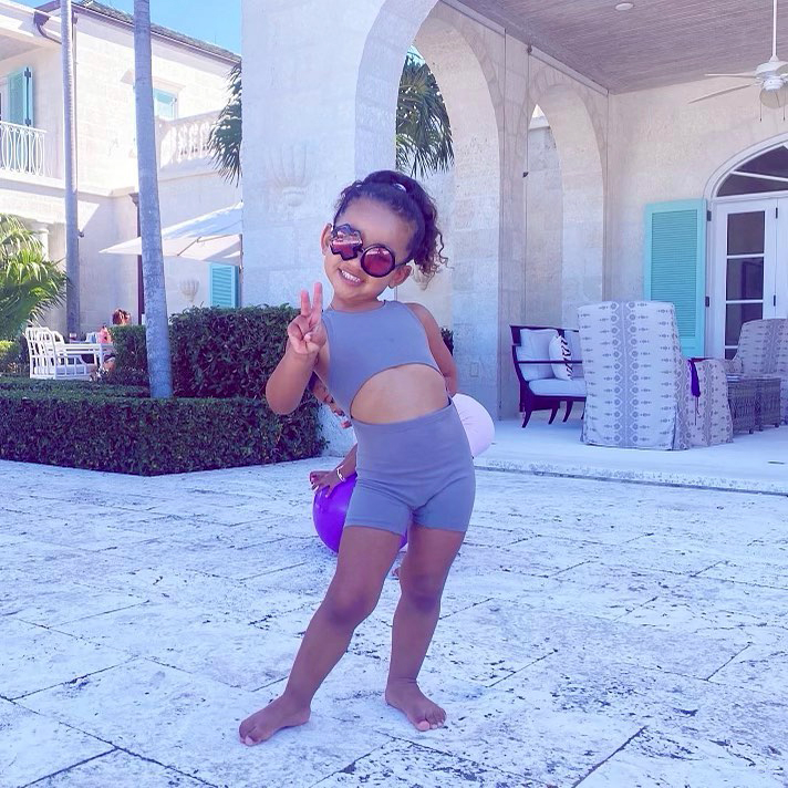 Chicago West Poses Just Like Mom Kim Kardashian, Flashes a Peace Sign
