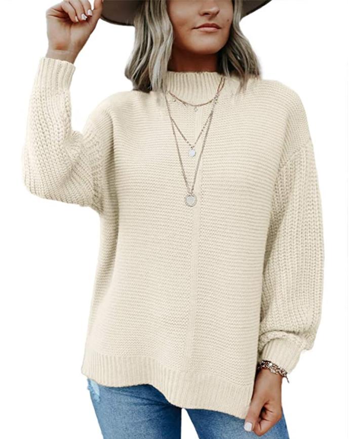 Imily Bela - Suéter de punto holgado con manga de globo y cuello simulado para mujer