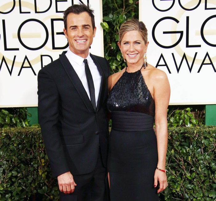 Justin Theroux and Jennifer Aniston arrive at the Golden Globes 2015 Jennifer Aniston Ex Justin Theroux Sends Love on Her 52nd Birthday