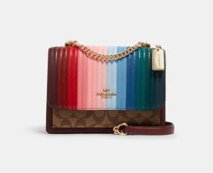Klare Crossbody With Rainbow Linear Quilting