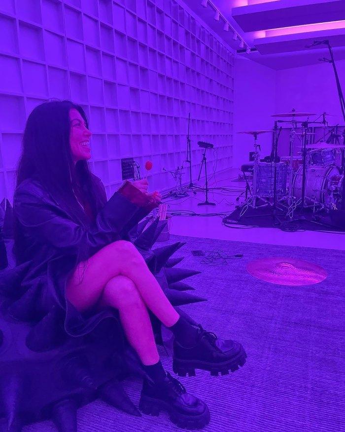 Kourtney Kardashian Beams While Hanging Out With Boyfriend Travis Barker in the Studio