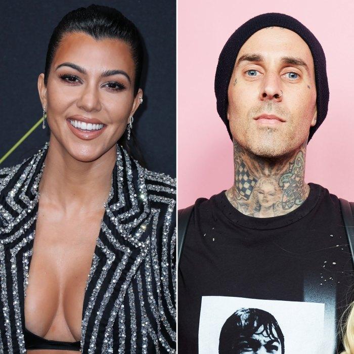 Kourtney Kardashian sonríe mientras sale con su novio Travis Barker en el estudio