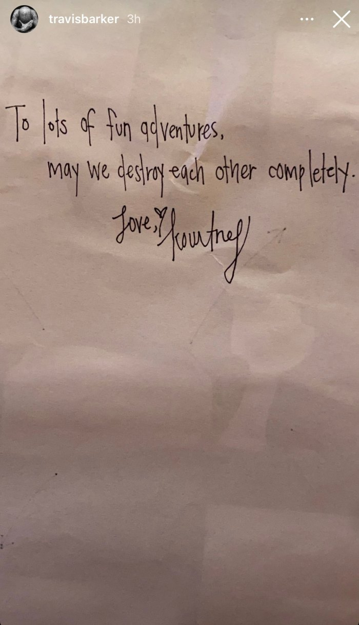 Travis Barker Shares Sexy Love Note From Girlfriend Kourtney Kardashian
