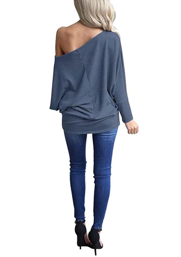 LACOZY Top estilo túnica de punto de manga larga con hombros descubiertos y hombros descubiertos para mujer