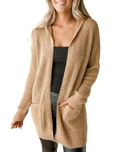 MEROKEETY Women's Open Front Long Sleeve Knit Hooded Cardigan Sweater