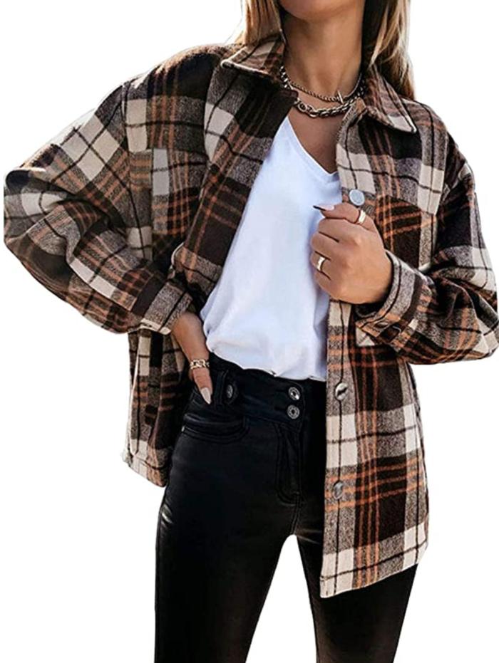 Meceku - Camisas informales con botones y cuadros de franela para mujer con bolsillos