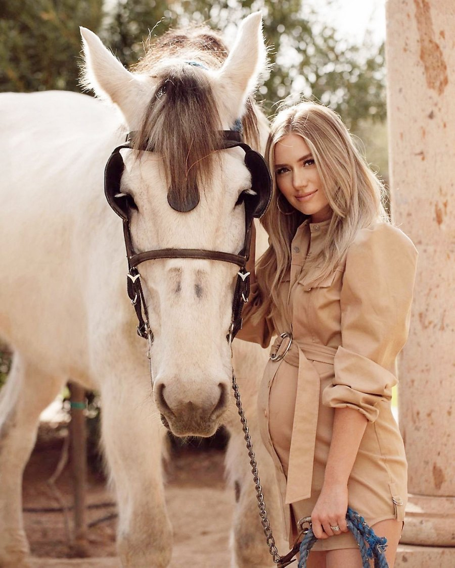 Pregnant Lauren Burnham Posing with a Horse