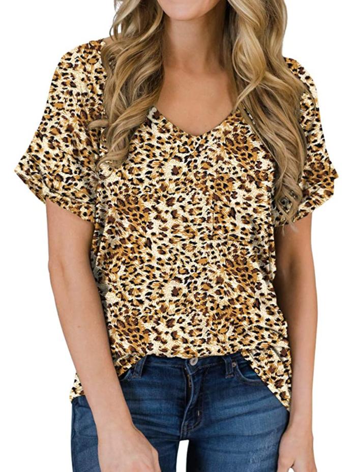 PrinStory, camisetas casuales de manga corta con cuello en V para mujer, camiseta básica holgada