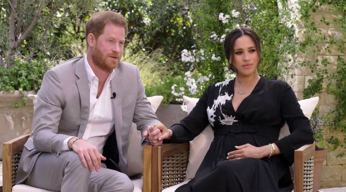 Prince Harry Fears He Left Royal Family Because of Fear That History Repeats Itself in First Promo for New Interview Meghan Markle Pregnant Black Dress