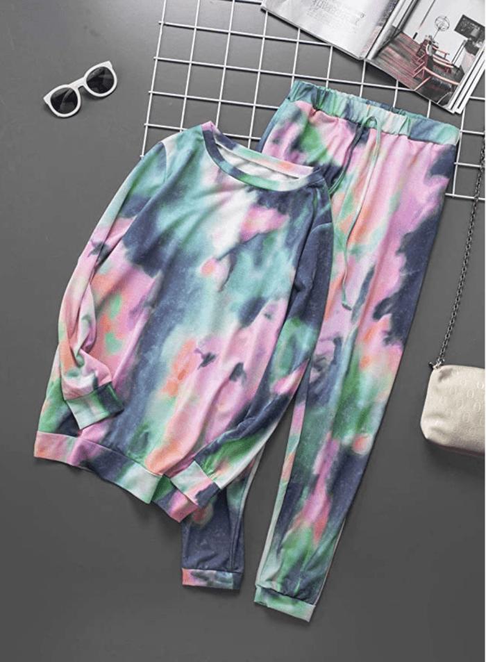 ROSKIKI Conjunto de pijama de 2 piezas con efecto tie dye para mujer, jersey de manga larga con pantalón largo