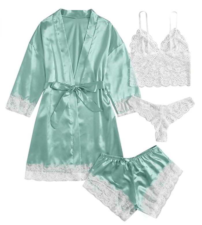 SOLY HUX Ropa de dormir para mujer 4 piezas Conjunto de pijama de camisola de satén con adornos de encaje floral con bata