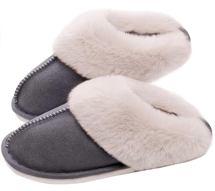 SOSUSHOE - Pantuflas suaves de piel mullida con espuma viscoelástica para mujer