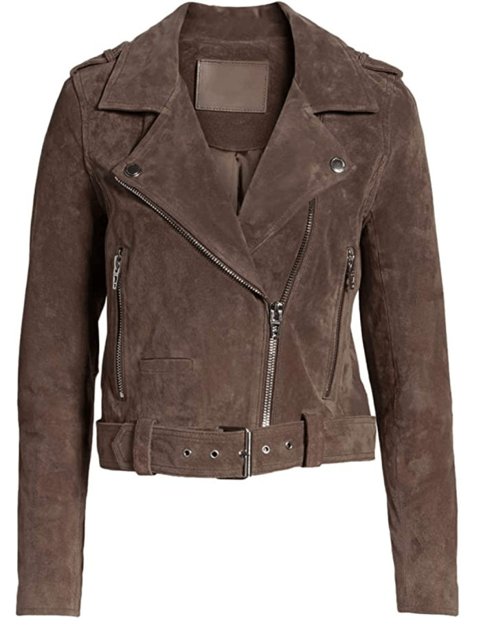 Blibea Women's Zipped Notch Collar Moto Biker Jacket
