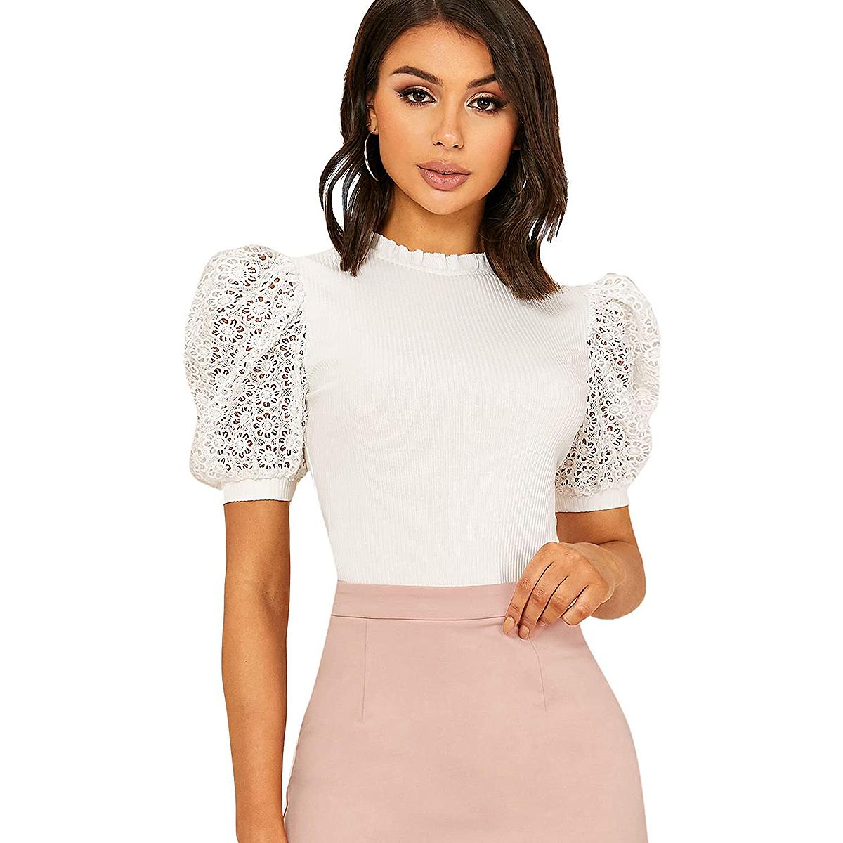 amazon-bridgerton-style-lace-puff-sleeve-top