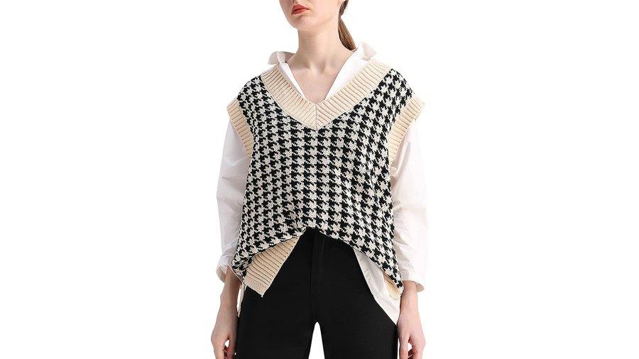 SAFRISIOR Oversized Houndstooth Knitted Sweater Vest