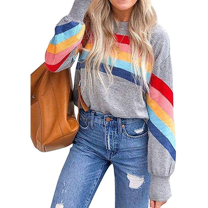 Sudadera con bloques de color a rayas arcoíris de HDLTE