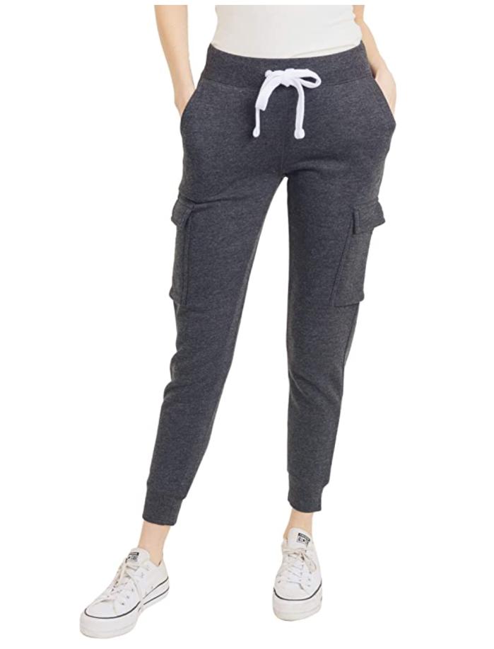 esstive - Pantalón de chándal tipo cargo sólido de peso medio de forro polar ultra suave para mujer