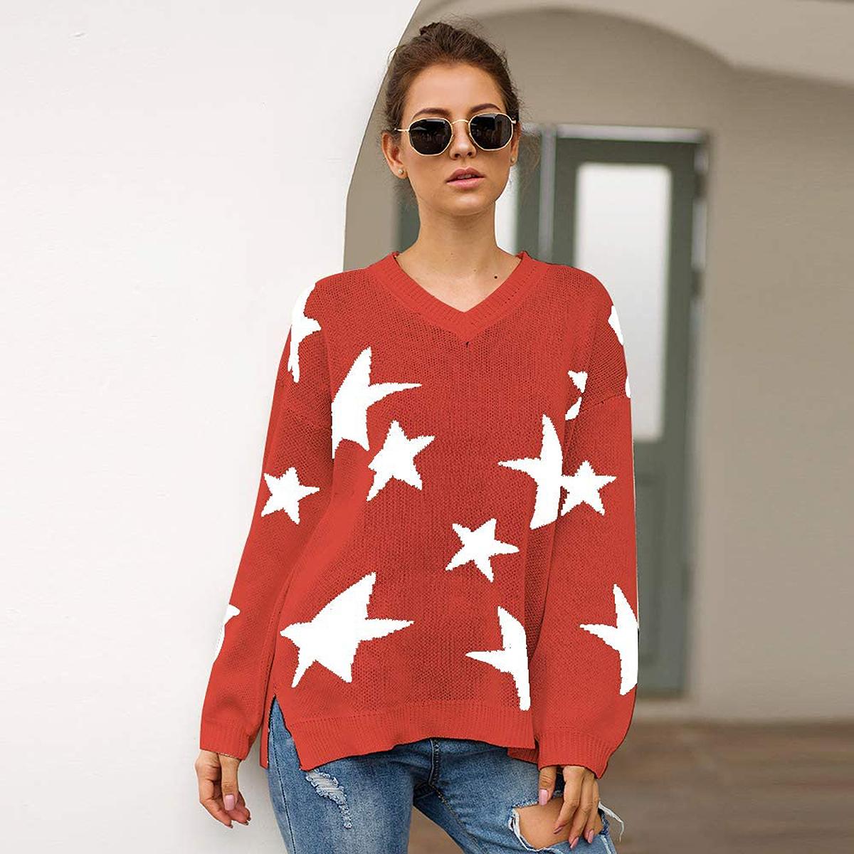 PRETTYGARDEN V-Neck Lantern Long Sleeve Star Sweater