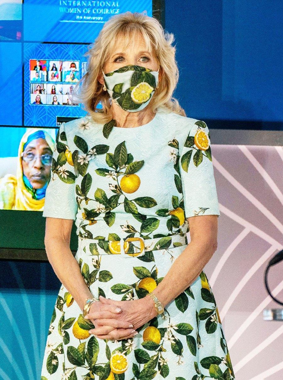 Jill Biden attends the 2021 International Women of Courage Award in Lemon Print Dress Dr Jill Biden Most Stylish Moments Since Becoming FLOTUS