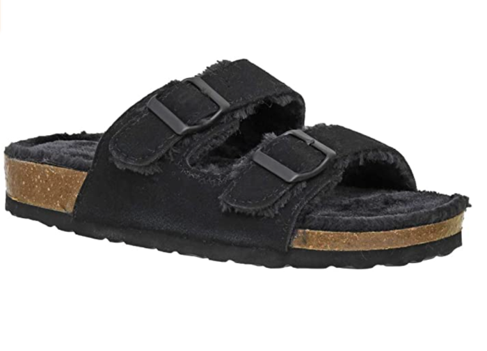 CUSHIONAIRE Women's Lane Cozy Cork Footbed Sandal with Faux Fur Lining