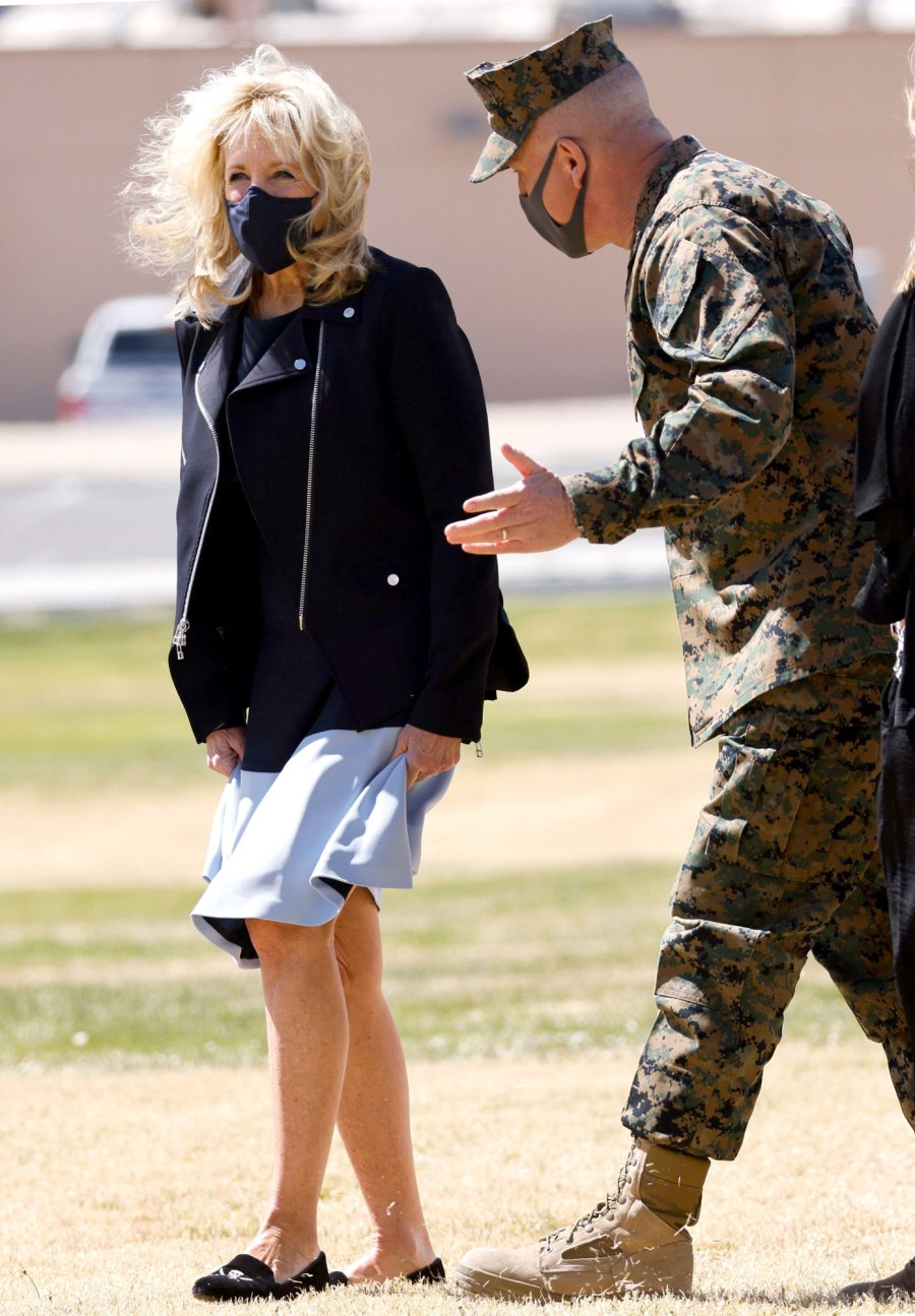 First Lady Jill Biden Braves the Wind Bare-Legged Midi Dress