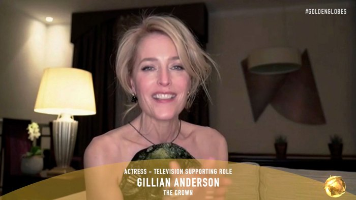 Gillian Anderson Reacts to Questions Surrounding Her Accent Following Alec Baldwin Joke Golden Globes 2021