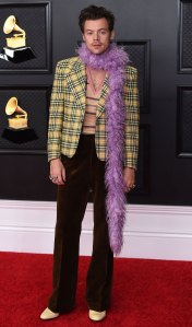 Harry Styles Channels 'Clueless' for 2021 Grammys Red Carpet