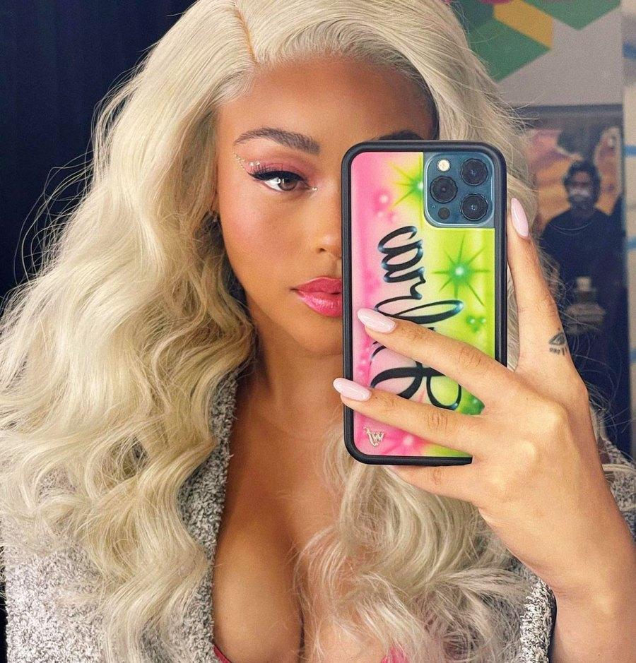 Whoa! Jordyn Woods Now Has Platinum Blonde Barbie Hair