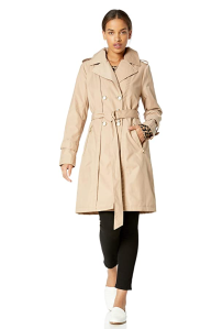 Karl Lagerfeld Paris Women's Classic Tailored Slim Fit Double Breasted Trench Coat