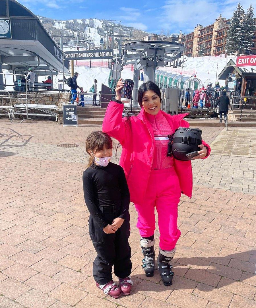 Kourtney Kardashian Pops in Hot Pink on the Ski Slopes