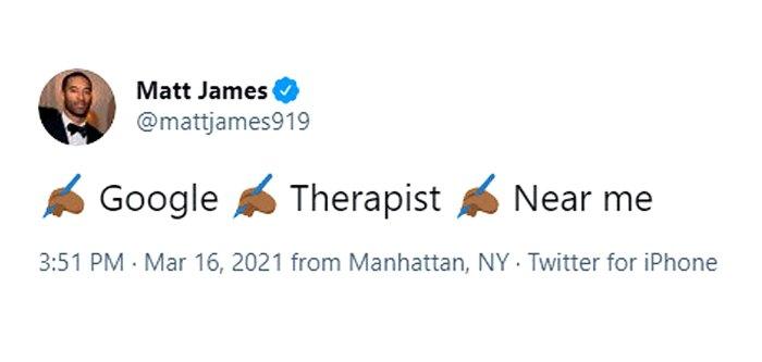 El soltero Matt James tuitea sobre la búsqueda de terapeuta después de la separación de Rachael Kirkconnell