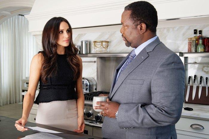 Meghan Markle as Rachel Zane and Wendell Pierce as Robert Zane on Suits Meghan Markles Suits Dad Wendell Pierce Slams Racist British Monarchy