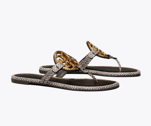 Miller Metal-Logo Sandal, Embossed Leather