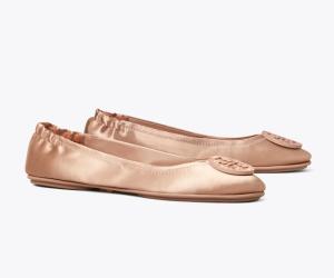 Minnie Embellished-Logo Travel Ballet Flat, Satin