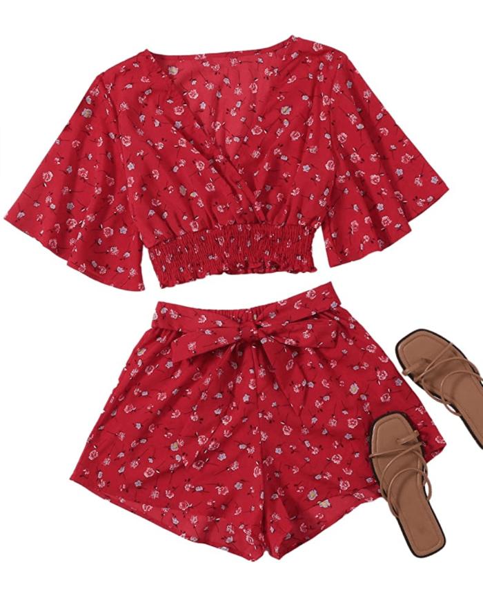SweatyRocks - Conjunto de top corto con nudo en la parte delantera y manga de mariposa boho de 2 piezas para mujer
