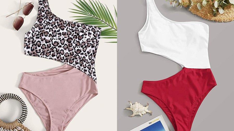 SweatyRocks Women's One Shoulder Cutout One Piece Swimsuit Monokini