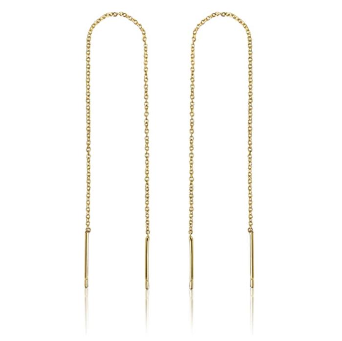 Benevolence LA Store Aretes de cadena de oro de 14 k