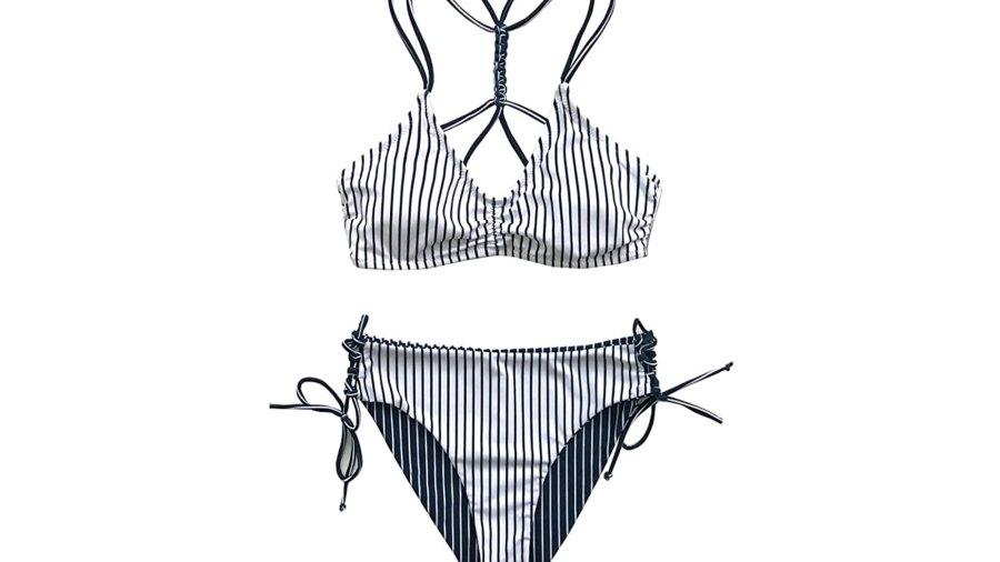 CUPSHE Women's Back Braided Straps Reversible Bottom Strappy Lace Up Bikini Set