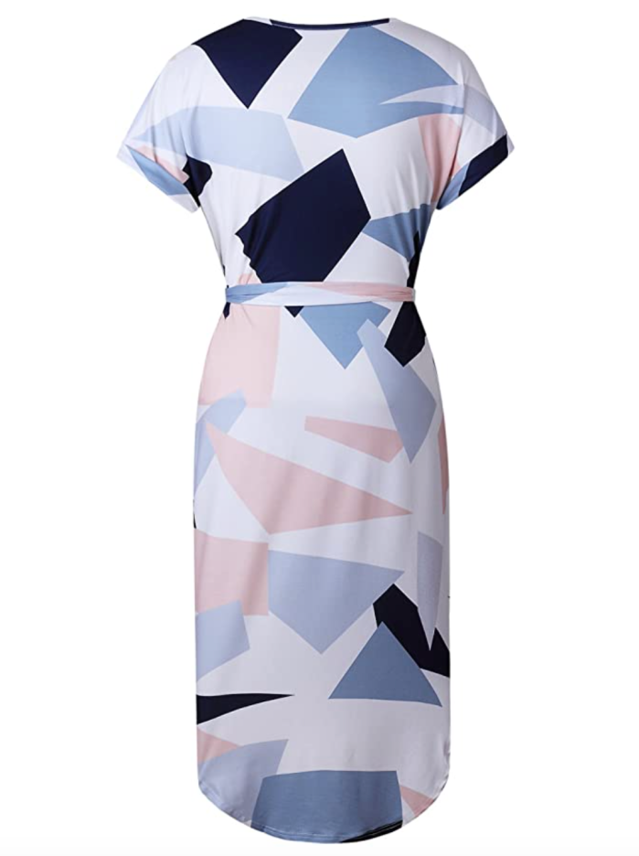 ECOWISH Women's Summer Casual V-Neck Geometric Pattern Belted Dress