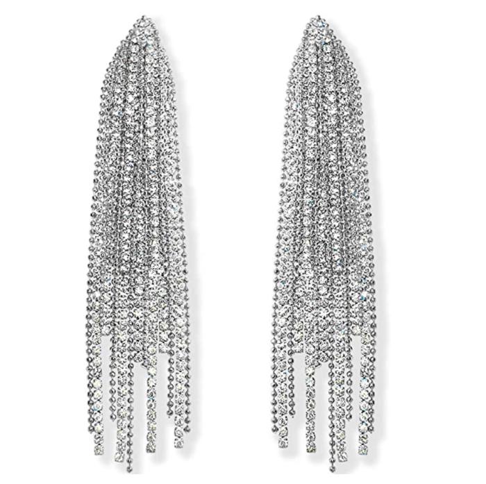 Aretes largos Humble Chic de diamantes de imitación