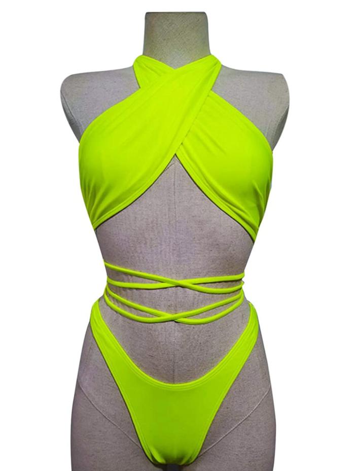 Bikini de tiras de neón para mujer JUMISEE